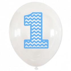 """Balon urodzinowy przeźroczysty / """"1"""" niebieska"""