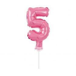 Balon foliowy na patyczku cyfra 5 różowa
