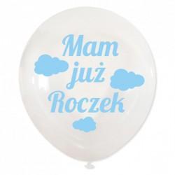 """Balon dekoracyjny, przeźroczysty """"Mam już roczek"""" chmurki - niebieske"""