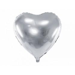 "Balon foliowy 24"" Serce, 61cm, srebrny"