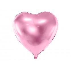 """Balon foliowy 24"""" Serce, 61cm, jasny róż"""