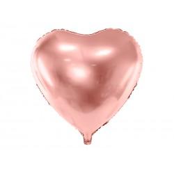 Balon foliowy Serce, 61cm, różowe złoto