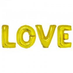 Balony litery LOVE, złote, 70cm