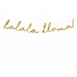 Baner Lama - Lalala Llama, złoty, 12,5x82cm