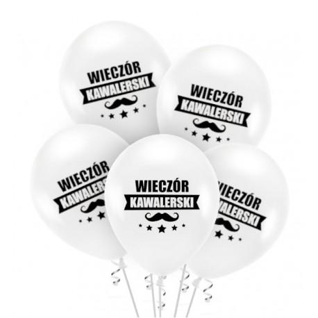 Balony Wieczór Kawalerski białe 5szt