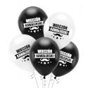 Balony Wieczór Kawalerski biało czarne 5szt