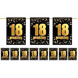 Girlanda flagi 18 urodziny złoto czarna