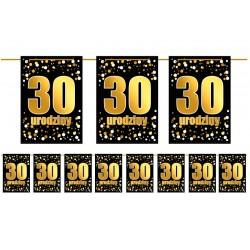 Girlanda flagi 30 urodziny złoto czarna