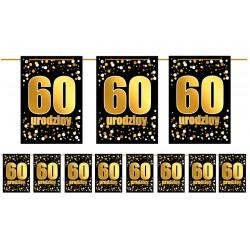 Girlanda flagi 60 urodziny złoto czarna
