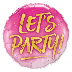 Balon foliowy 18 cali, LET'S PARTY!