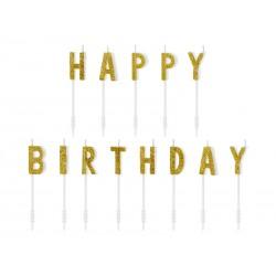 Świeczki urodzinowe Happy Birthday złoty 2,5cm