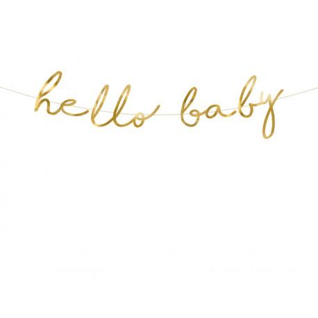 Baner Little Star - Hello Baby złoty 18x70cm