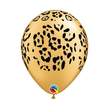 Balon 11 cali Leopard - kropki, złoty 1szt