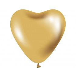 """Balony Beauty&Charm platynowe złote serca 12""""/ 6 szt."""
