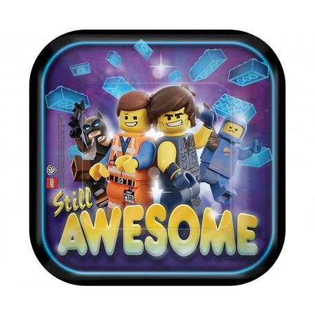 Talerze papierowe Lego Movie 2 18 cm, kwadratowe, 8 szt.