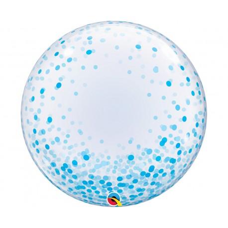 """Balon foliowy 24"""" QL Deco Bubble, błękitne grochy"""