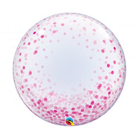"""Balon foliowy 24"""" QL Deco Bubble, różowe grochy"""