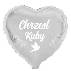 Balon Chrzest z imieniem srebrny personalizowany