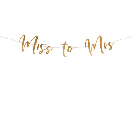 Baner Miss to Mrs różowe złoto 18x76cm