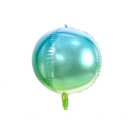 Balon foliowy Kula ombre, niebiesko-zielony, 35cm
