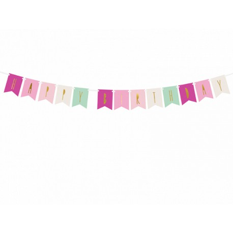 Baner Happy Birthday, mix, 11,5 x 140 cm