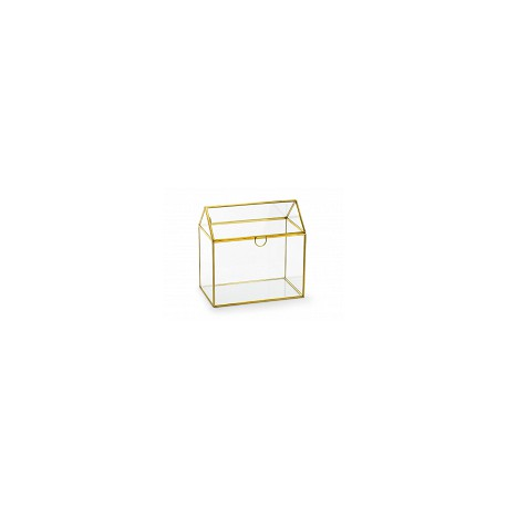 Szklane pudełko na koperty, złoty, 13x21x21cm