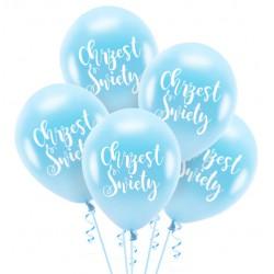 Balony Chrzest Święty błękitne 5szt