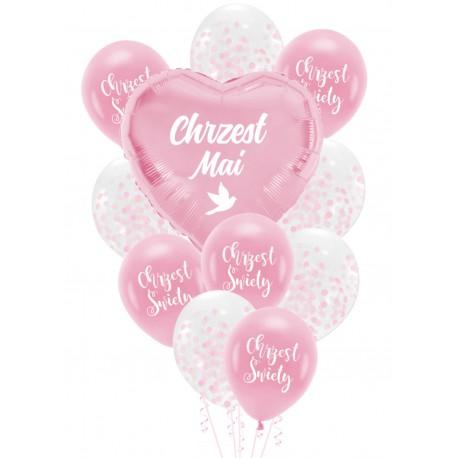 Balony zestaw różowy CHRZEST + IMIĘ personal