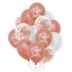 Zestaw balonów Chrzest Święty konfetti rose gold 14szt