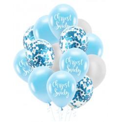 Zestaw balonów Chrzest Święty konfetti niebieskie14szt