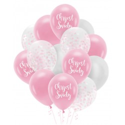 Zestaw balonów Chrzest Święty konfetti różowe 14szt