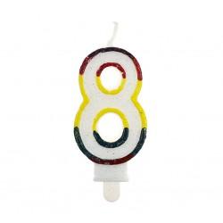 Świeczka cyfra 8 z brokatem