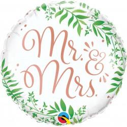 Balon foliowy 18 cali Mr&Mrs Elegant Greenery