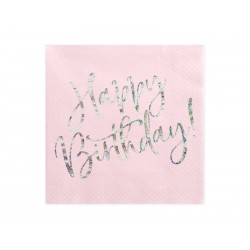 Serwetki Happy Birthday, jasny pudrowy róż, 33x33cm