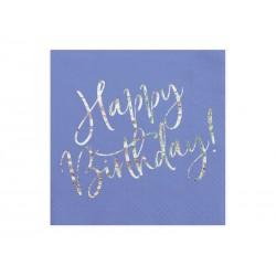 Serwetki Happy Birthday granatowy 33x33cm