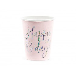 Kubeczki Happy B'day! jasny pudrowy róż 220ml