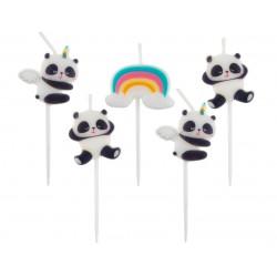 Świeczki pikery Panda 5 szt.