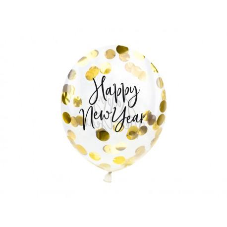 Balony z konfetti  Happy New Year 27cm złoty