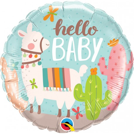 Balon foliowy 18 cali HELLO BABY (Lama)