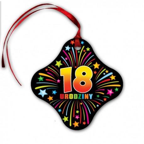 Zawieszka na butelkę 18 urodziny gwiazdki