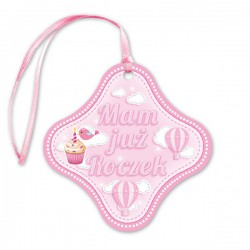 Zawieszka na butelkę mam już roczek różowa dla dziewczynki