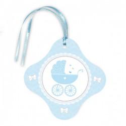 Zawieszka na butelkę niebieska wózek chrzest baby shower