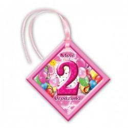 Zawieszka na butelkę różowa 2 urodziny