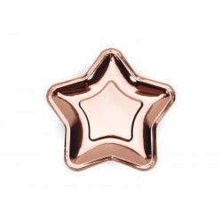 Talerzyki Gwiazdka różowe złoto 18cm