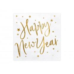 Serwetki Happy New Year biały 33x33cm