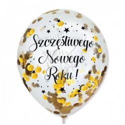 Balon z konfetti Szczęśliwego Nowego Roku 1szt