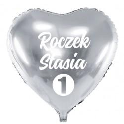 Balon personalizowany ROCZEK + Imię , srebrny