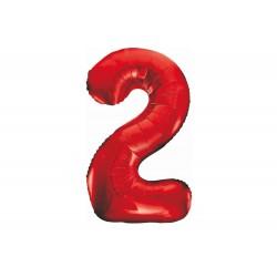 Balon foliowy cyfra 2, czerwony, 102 cm