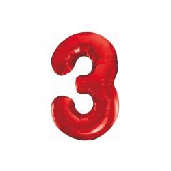 Balon foliowy cyfra 3, czerwony, 102 cm