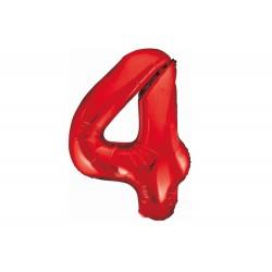 Balon foliowy cyfra 4, czerwony, 102 cm